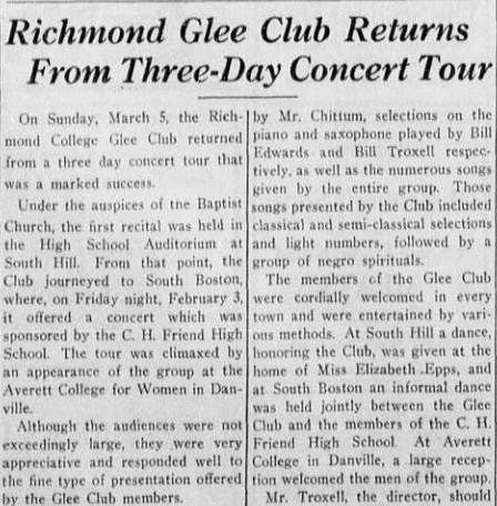 """Article """"Richmond Glee Club Returns From Three-Day Concert Tour"""""""