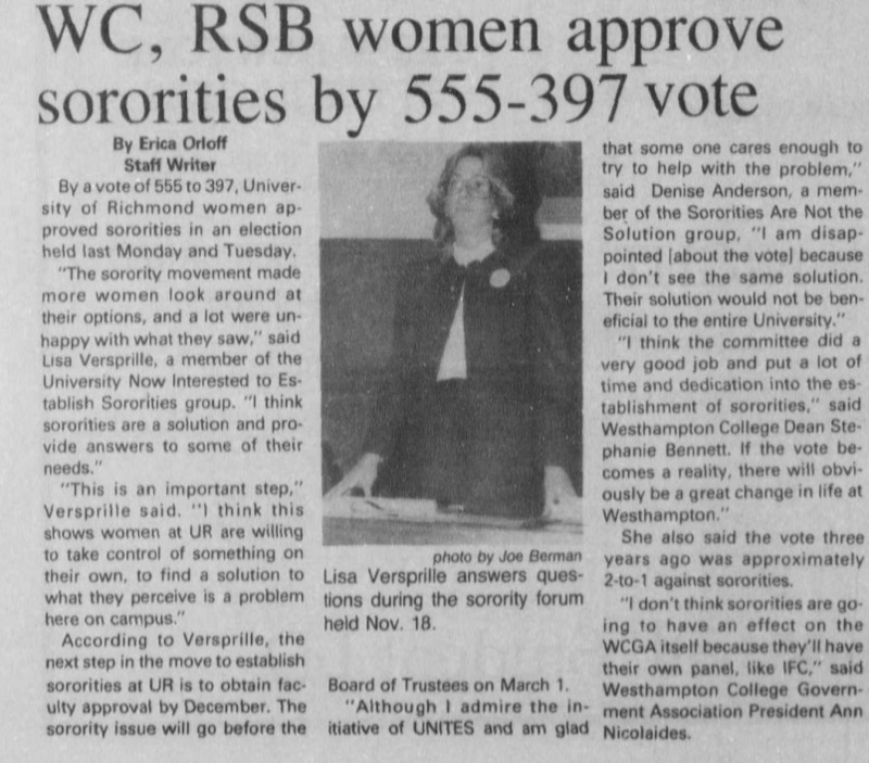 "Article ""WC, RSB women approve sororities by 555-397 vote"""