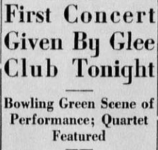 """Article """"First Concert Given by Glee Club Tonight"""""""