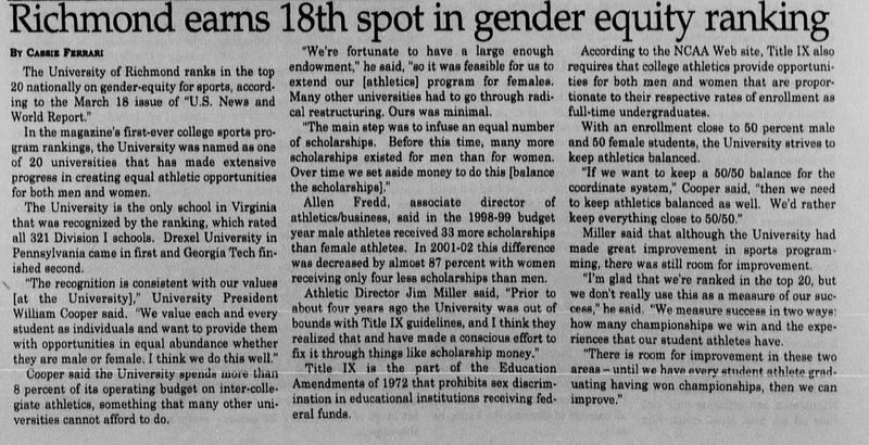 "Article ""Richmond earns 18th spot in gender equity ranking"""