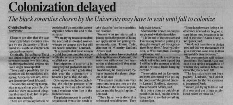 "Article ""Colonization delayed: The black sororities chosen by the University may have to wait until fall to colonize"""