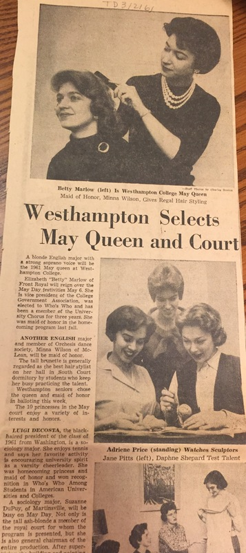 """Article """"Westhampton Selects May Queen and Court"""""""