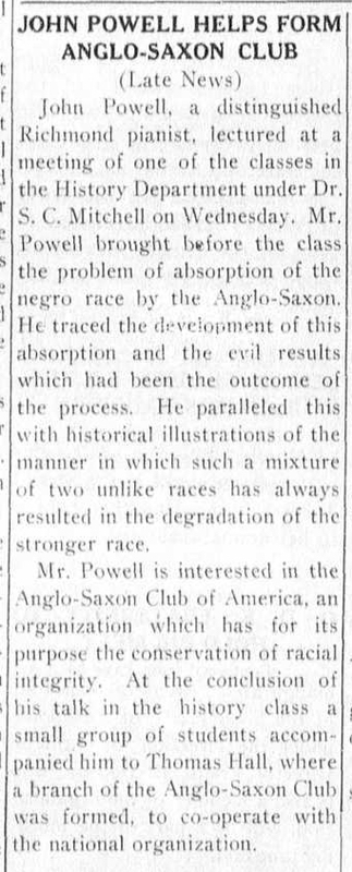 "Article ""John Powell Helps Form Anglo-Saxon Club"""