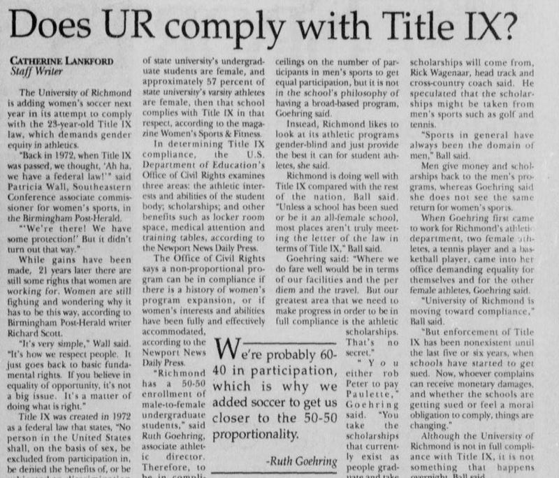 "Article ""Does UR Comply with Title IX?"""