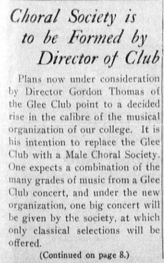 "Article ""Choral Society Is To Be Formed By Director of Club"""