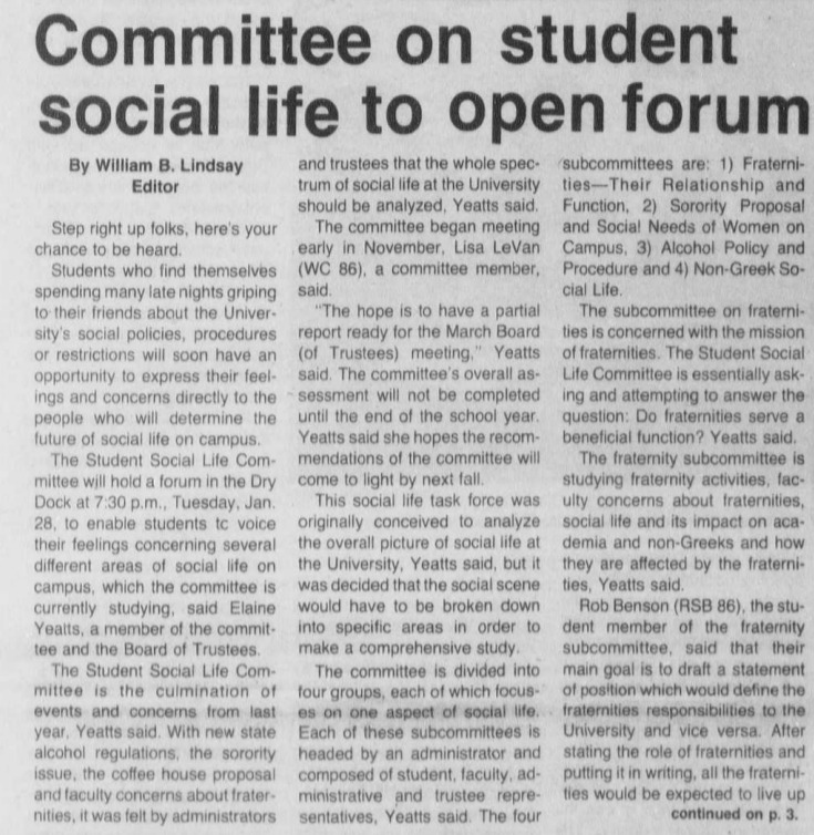 "Editorial ""Committee on student social life to open forum"""