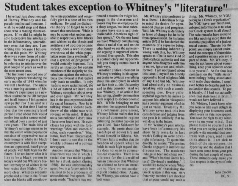 "Opinion ""Student takes exception to Whitney's 'literature'"""