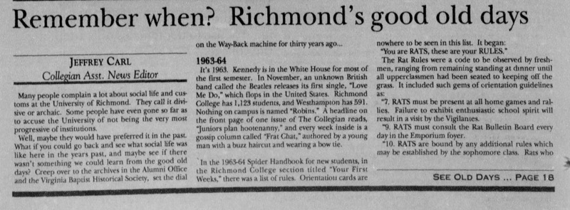 "Article, ""Remember when? Richmond's good old days"""