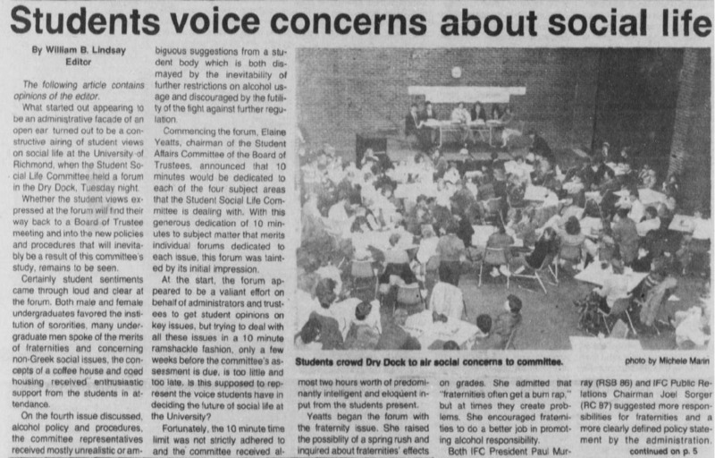 "Editorial ""Students voice concerns about social life"""