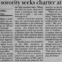 "Article ""Black sorority seeks charter at UR"""