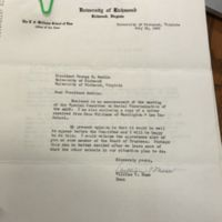 Letter from Dean William T. Muse to President Modlin and attachments