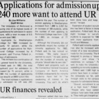 "Article ""Applications for admission up: 240 more want to attend UR"""