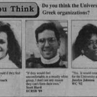 "Article ""That's What You Think: Do you think the University should have black Greek organizations?"""