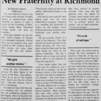 "Article ""Phi Beta Sigma Colonizes New Fraternity at Richmond"""
