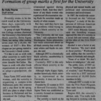 "Article ""Historically black sorority colonizes: Formation of group marks a first for the University"""