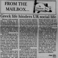 "Letter to the Editor ""Greek life hinders UR social life"""