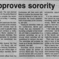 "Article ""Faculty approves sorority proposal"""