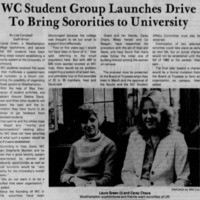 "Article ""WC Student Group Launches Drive to Bring Sororities to University"""