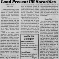 "Article ""Lack of Student Interest, Land Prevent UR Sororities"""