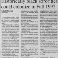 "Article ""Historically black sororities could colonize in Fall 1992"""