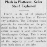 "Article ""Consideration of Sororities Asked: Collegian Discusses Fourth Plank in Platform; Keller Stand Explained"""