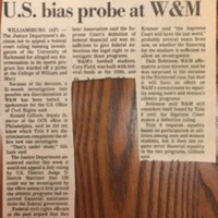 "Article ""UR Case Has Warded Off U.S. Bias Probe at W&M"""