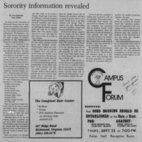 "Article ""Sorority information revealed"""