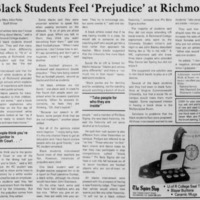 "Article ""Black Students Feel 'Prejudice' at Richmond"""