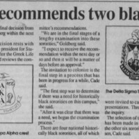 "Article ""Committee recommends two black sororities"""