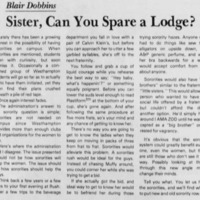 "Editorial ""Sister, Can You Spare a Lodge?"""