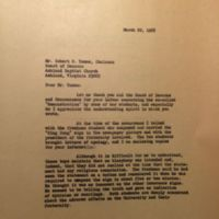 Letter from President George M. Modlin to Robert R. Toone