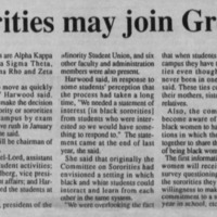 "Article ""Black sororities may join Greek system"""