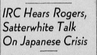 "Article ""IRC Hears Rogers, Satterwhite Talk On Japanese Crisis"""