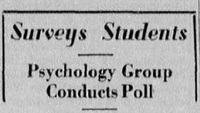 "Article ""Psychology Group Conducts Poll"""